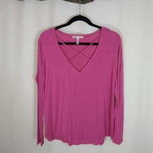PINK super soft long sleeve tee with caging